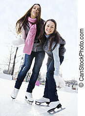 溜冰场, 妇女, 二, 冰, 年轻