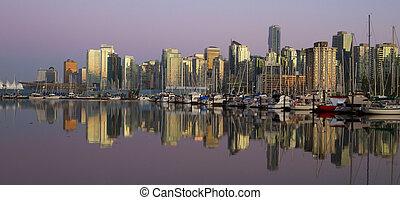 溫哥華, 市區, 晚上, 加拿大, bc