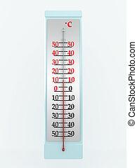 溫度計, 被隔离, 在懷特上, 背景。, 3d, 圖像