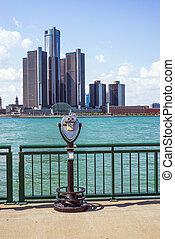 溫莎, 安大略, -, 觀光, 遊人, 雙筒望遠鏡, 忽略, 市區, 底特律, 由于, the, 一般, 馬達, 新生, 中心, 在, the, 背景。