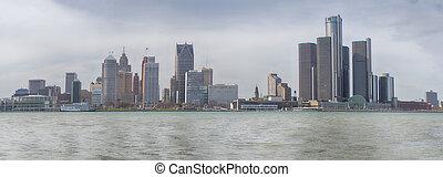 溫莎, 安大略, -, april, 8, 2017:, 全景的見解, ......的, 地平線, 在, 市區, 底特律, 由于, the, 一般, 馬達, 新生, 中心, 在, the, 背景。