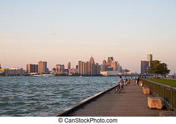 溫莎, 安大略, -, sept, 2, 2017:, 全景的見解, ......的, windsor's, 濱水區, 由于, 市區, 底特律, 地平線, 以及, the, 一般, 馬達, 新生, 中心, 在, the, 背景。