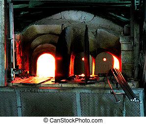 溶けること, ベニス, 強力, 火をつけられた, ガラス, murano, ワークショップ, 炎, 炉