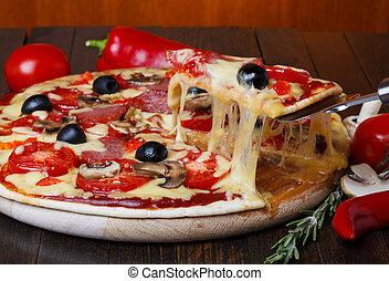 溶けること, 暑い, ピザ, チーズ