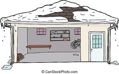 溶けること, 開いた, 雪, 屋根, ガレージ