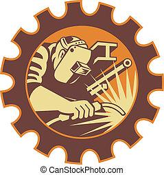 溶接工, 労働者, 溶接トーチ, レトロ