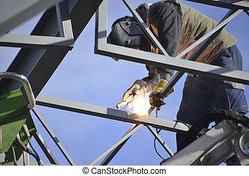 溶接, 労働者, サイト, 金属, 建設