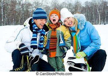 滑冰, 去, 家庭, 冰