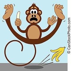 滑落, 猴子, 剥皮, 香蕉