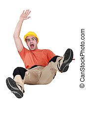 滑落, 落下, 工匠, 地板