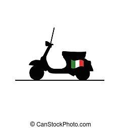 滑行車, 由于, 義大利旗子, 矢量