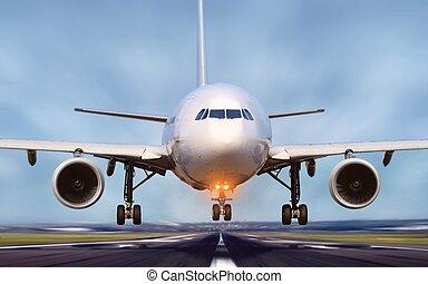 滑走路, 出発, 空港, 飛行機
