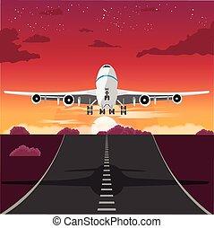 滑走路, 取得, 夕方, 離れて, 飛行機