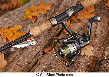 滑車, 木制, 釣魚, surface.