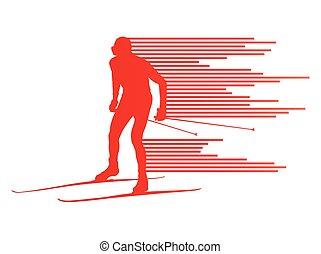 滑雪的十字形國家, 矢量, 背景, 概念