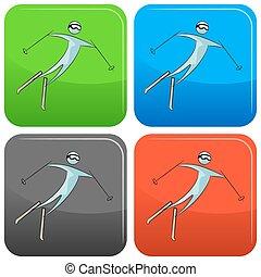滑雪者, 放置, 图标