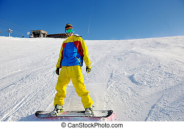滑雪, 上, 新鮮的雪, 在, 冬天, 季節, 在, 美麗, 陽光充足的日