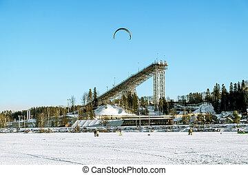 滑雪, 以及, 跳在里, the, 教育, 訓練中心, 在, kavgolovo, 在, saint-petersburg, 在, winter.