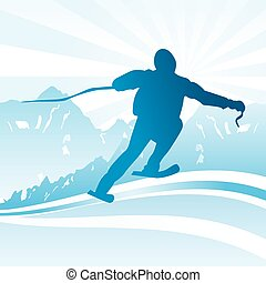 滑雪, 同时,, 运动, 背景