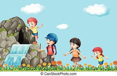 滝, ハイキング, 子供