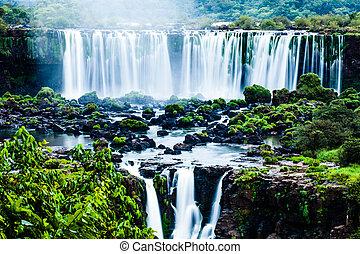 滝, ブラジル人, iguassu, 世界, シリーズ, 光景, 側, 最も大きい, 落ちる
