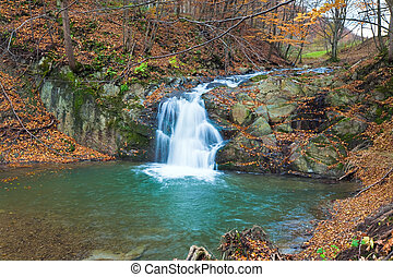 滝, 上に, 岩が多い, 秋, 流れ