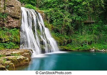 滝, 中に, 自然