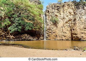 滝, 中に, kenya, アフリカ