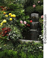 滝, 噴水, 壮麗, 庭, butchard-