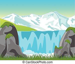 滝, 大きい, 山