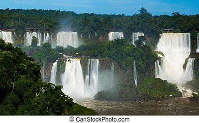 滝, 川, ブラジル, cataratas, iguazu, del