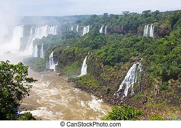 滝, 川, cataratas, iguazu, del, ブラジル