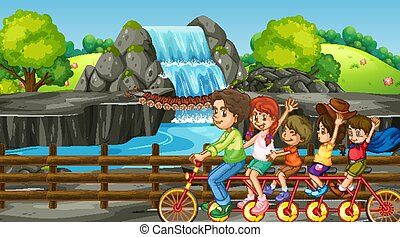 滝, 旅行, 家族