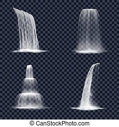 滝, 現実的, 山, 透明