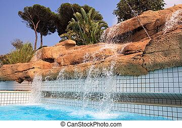 滝, pool., 人工