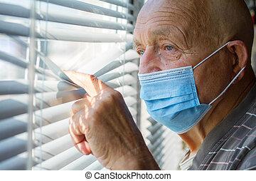 滞在, 人, 青, 家, によって, 保護である, 顔, 彼の, 窓, 概念, 顔つき, マスク, 非常に, から, 年配