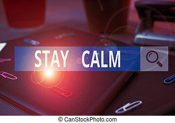 滞在, calm., 滑らかに, はさみ, textured, 意味, 本, 維持しなさい, テキスト, 執筆, の上...