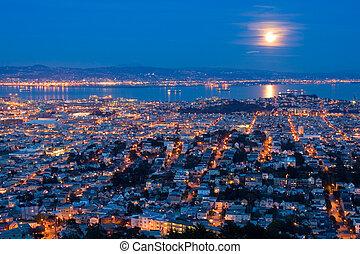 滿月, 上升, 在上方, san, francisco., 空中的觀點, 從, 雙生子, peaks.