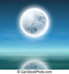 滿月, 由于, 反映, 上, 水, 在, night.