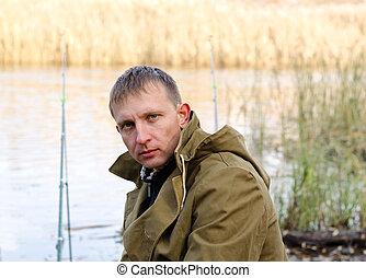 漁夫, 中年, 湖捕魚