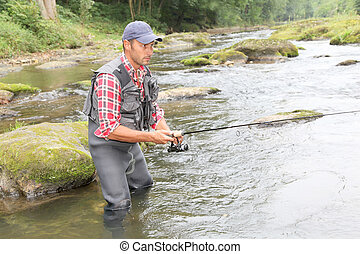 漁夫, 河, 鞭笞, 釣魚