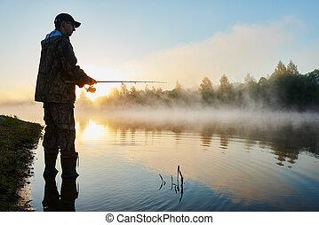 漁夫, 釣魚, 日出, 有霧