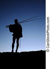 漁夫, 黑色半面畫像, 或者, 釣魚者
