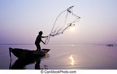 漁夫, fish, net., 抓住, 投