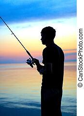 漁師, シルエット