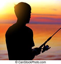 漁師, シルエット, 人