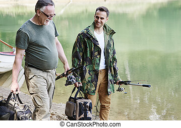 漁師, タックル, 釣り, 話し