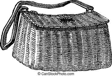 漁師, バスケット, 彫版, 型