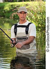 漁師, 渡ること, 中に, 川