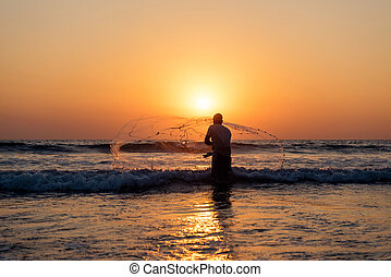 漁師, 生活, 中に, アジア, 中に, ∥, 日没